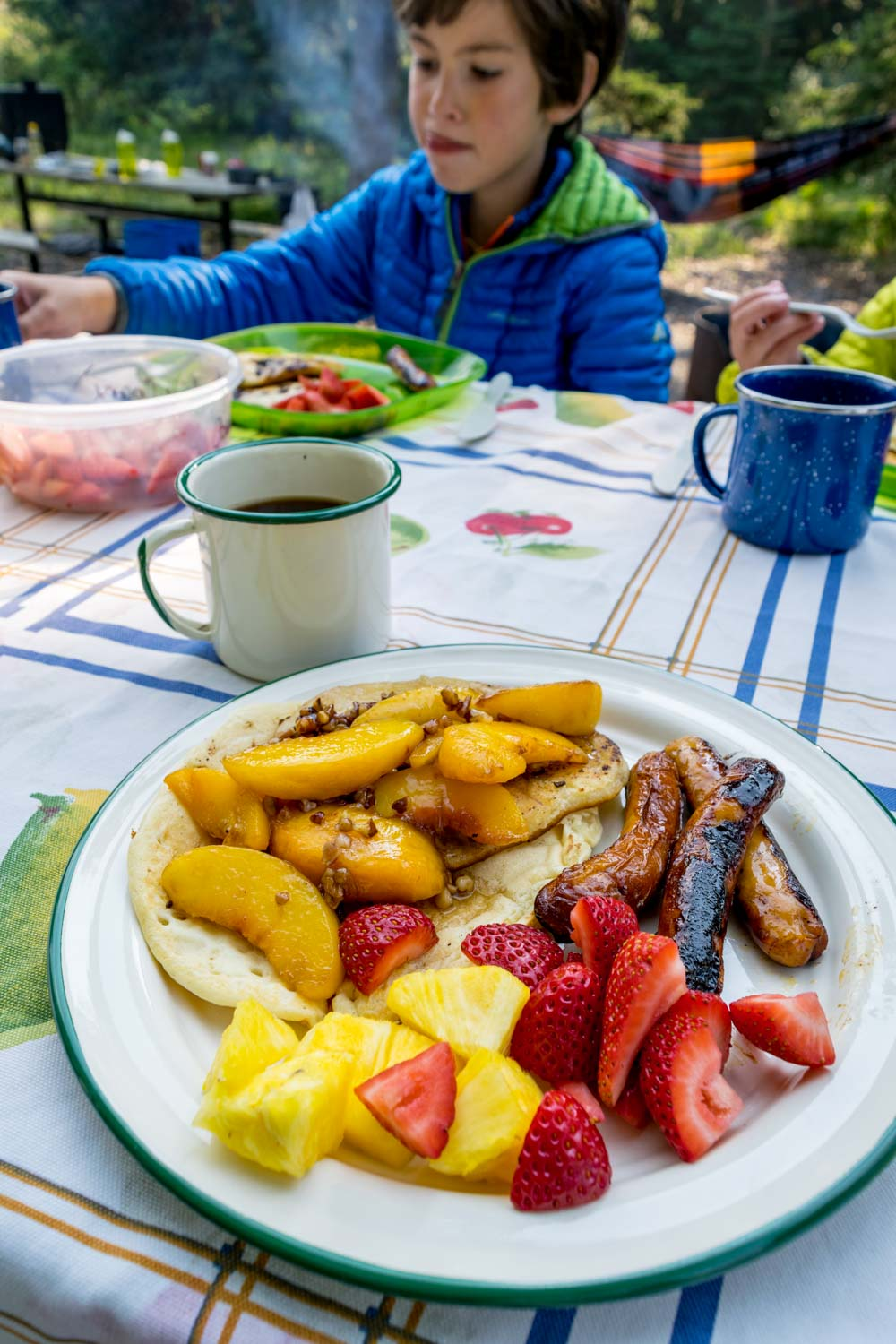 Pancakes with Campfire Roasted Peaches